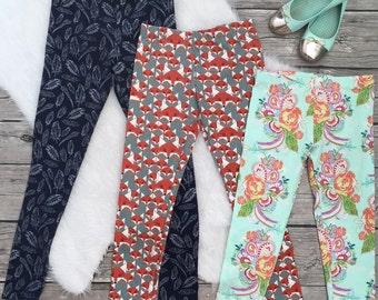 Girls Kids Tweens Toddler Knit Leggings Deer Moose Colorful stars