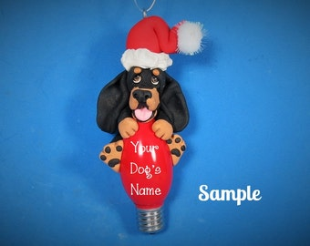 Black and Tan Coonhound Santa Dog Christmas Holidays Light Bulb Ornament Sally's Bits of Clay personalized free with your dog's name