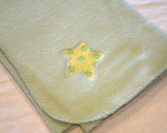 Baby Blanket Mint Green with Yellow Polka Dot Star Lightweight Fleece Embroidery - Ready to Ship