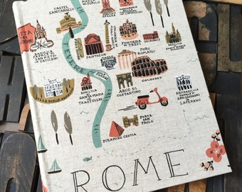 Photo Album - Large fabric covered with Rome and London Travel Theme