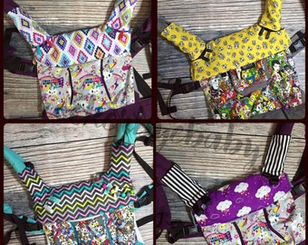 Custom Bib for your Lillebaby and other carriers Skull skulls Mustache Chevron Tattoo Guitar prints with minky lining and