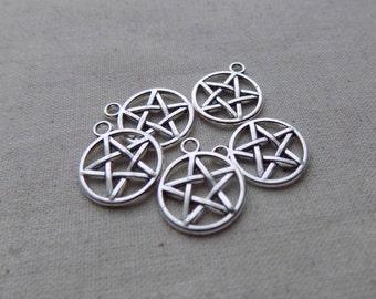 10 Silver tone Pentacle Charms Pendants