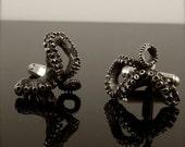 VDay SALE SALE - Tentacle Cufflinks, Sterling Silver Men's Jewelry, OctopusME, Tentacle gifts for him, Octopus Wedding Jewelry, Groomsmen