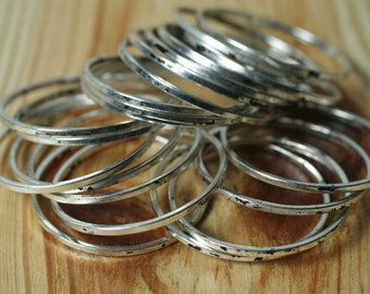 Antique silver tone circular link connector ring 24mm outer diameter, 30 pcs (item ID SPCL24m)