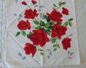"""Vintage NAPKINS red roses 2 printed 1 solid red  18x18"""" doily linen table dinner recycle pillow collect"""
