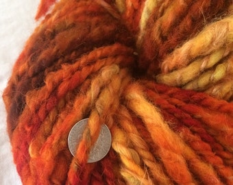 Firestarter two ply llama cvm wool handspun mega chunky yarn 112 yards