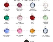 5 Swarovski Birthstone Charms. 5 pack. Rhodium Plated formerly Silver Plated. 6mm. Choose your colors. 1128 SS29.