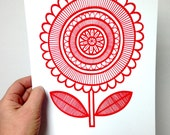 New Scandi Happy Flower screen print  by Jane Foster  - hand printed signed LIMITED EDITION