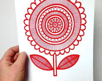 New MINT Scandi Happy Flower screen print  by Jane Foster  - hand printed signed LIMITED EDITION