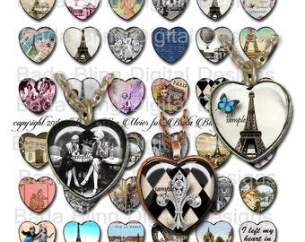 Vintage Paris, 25mm hearts.. collage sheets...INSTANT Digital Download at Checkout, Eiffel Tower, french script, vintage photos