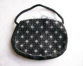 Vintage Black Beaded Clutch Purse *Made in Czechoslovakia* Deco Design Accessories 1930s *Needs Repair