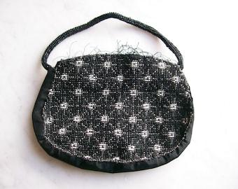 Vintage Black Beaded Clutch Purse Made in Czechoslovakia Deco Accessories