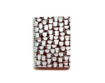 Cocoa Cups Spiral Bound Journal, Recipes Notebook, Chocolate Brown, Back to School, Blank Sketchbook, A6, Pocket, Diary, Gifts Under 15