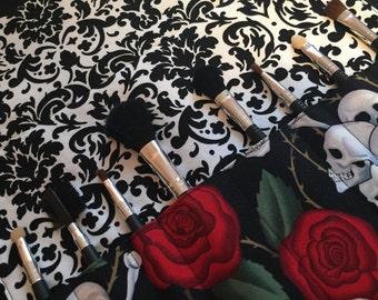 Makeup brush roll, Makeup brush case, crochet hook case, paint brush case, skulls