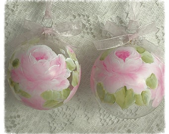 """3.25"""" ORNAMENTS Set of 2 Clear Glass Hand Painted PINK Roses Glass Round Ball ecs SVFTeam sct schteam"""