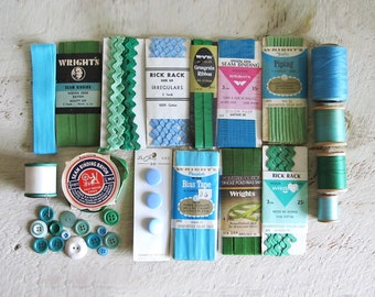 Assorted Vintage Blue & Green Sewing Supplies