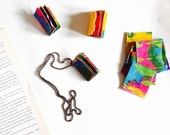 artjournal, book, pendant, canvas book, necklace, jewelry, art journal pendant, tangible poetry, mini zine