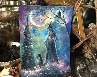 Terri Foss Art Print 5x7 from Original Painting Cat Girl Victorian Moon Witch Witchcraft Yule Samhain Halloween Gothic Folk Art Owl