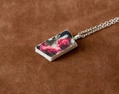 Frozen Blooms Artifact Pendant - stone photo pendant, archaeological jewelry, OOAK stone jewelry, pink rose pendant, floral jewelry