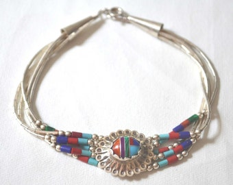 Sterling Liquid Silver Bracelet, Native American Bracelet, Sterling Silver Chain Bracelet, Navajo Bracelet, Vintage Bracelet, Inlay Bracelet