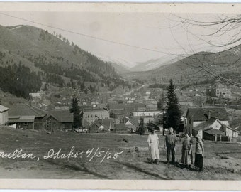 vintage photo 1925 Family Mullen Idaho View Town Mountain from Hills
