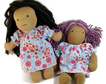 Doll clothes 13, 14, 15, 16 inch Waldorf doll nightgown, monkeys and flowers nightgown