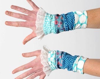 Blue and white cuffs, Stretchy wrist cuffs, White and blue patchwork cuffs with mesh ruffles