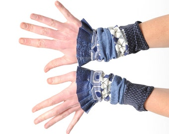 Stretchy blue jersey cuffs with blue ruffles, in a patchwork of patterned fabrics, Womens gift idea, Womens accessories, MALAM