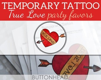 Heart with Arrow Temporary Tattoos - Valentines Day Party Decor - True Love