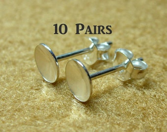 925 Sterling Silver PAD Earring Posts (6mm.) and Earring Backs - 10 Pairs (20 Pieces)