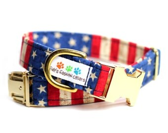 Personalized American Flag dog collar, USA Dog Collar, Personalized Dog Collar optional - Flag Dog Collar
