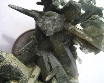 Himalayan Chlorite Quartz Cluster Nepal Chlorite Coated Quartz Crystal Penetrating Points Chlorite Crystal Chlorite Inclusions