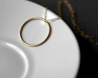 Tiny O Necklace- modern handmade jewellery- handcrafted 14k gold fill