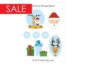 SALE 50% OFF Santa and Reindeer Sticker Sheet