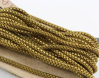 Brass Chain two foot length. Basemetal base metal solid brass box chain links. Brass chain. Vintage.