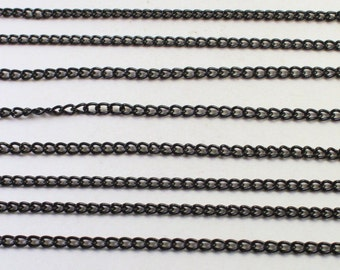 Black Painted Small Curb Chain Pieces, Unfinished Chain, Wholesale Bead Findings