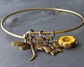 DIY In the Garden Bangle Charm Bracelet Kit : Antique Brass Expandable Bracelet Do It Yourself