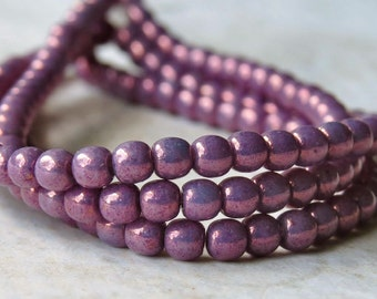 Metallic Purple 3mm Czech Glass Druk Bead : 100 pc Purple 3mm Czech Glass Round Bead
