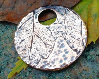Copper Maple Leaf Imprint Pendant, Round Focal Pendant, Leaf Impression Rustic Jewelry, Nature Lover's Gift, OOAK
