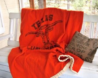 Vintage University of Texas Orange Longhorns Wool Blanket 1960's Touch down Brand Virgin Wool