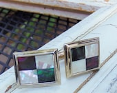 Cufflinks, Vintage Mother of Pearl Cuff Links, ELEGANT Pearly Geometric / Checkerboard Design, Gold Tone Accessory, Green, Purple, SHIMMERY