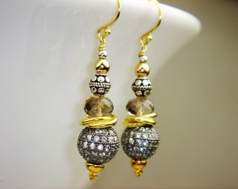 Gold, Sterling Silver, Smoky Quartz and Oxidized Silver Pave CZ Bead Earrings