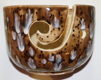 Brown spotted Ceramic yarn Bowl