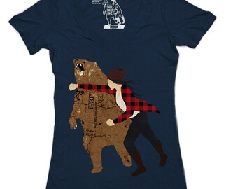 Girl Bear Punch Deep V-Neck, Funny Bear T-shirt, animal, Sizes available S M L XL 2XL