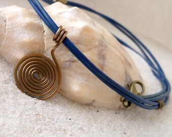 Womens Jewelry - Leather Necklace - Leather Necklace with Pendant - Bohemian Necklace - Blue Necklace - Spiral Metal Wire Pendant