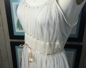 1950s nightgown honeymoon lingerie chiffon nightie size medium Vintage nightgown cream nightgown full skirt slip