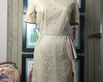 Sale 1950s beige dress 50s cocktail dress size large Vintage dress lace dress wiggle dress