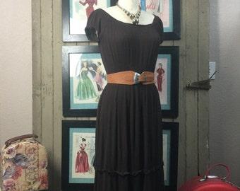 Sale brown gauze dress bohemian dress size medium Vintage off the shoulders dress