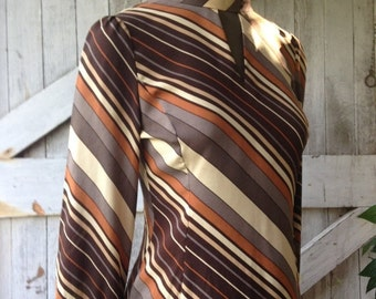 Fall sale Vintage blouse striped blouse silk blouse brown button back fitted shirt Long sleeve top with tie sash ascot