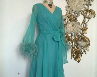 Fall sale 1970s dress lilli diamond wrap dress chiffon dress feather dress size medium designer dress cocktail dress